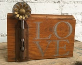 LOVE on Reclaimed Wood with Vintage Flower Brooch