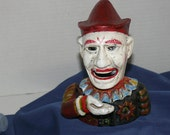Cast Iron Mechnical Bank - 1960's =  Reproduction of 1900s Clown Bank