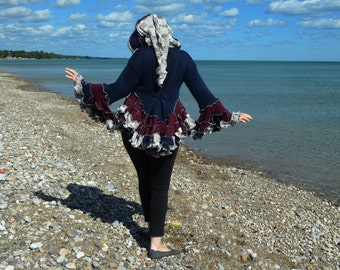 Strawberry Blueberry Cheesecake Size 12 Butt Ruffle frankensweater Upcycled recycled gypsy coat sweater 101
