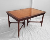 mid century modern mahogany & oak inlay gate leg 8ft dining table by WEIMAN heirloom tables