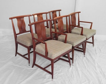6 mid century WEIMAN mahogany HOLLYWOOD REGENCY dining chairs