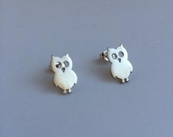Owl sterling silver stud post earrings