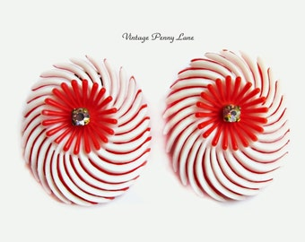Vintage Soft Plastic Rhinestone Earrings, Red and White Clip Ons