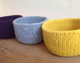 Sale Felted Wool Nursery Kitchen Tabletop Organizer Pick Three Felted Treasure Bowl Holiday Sale