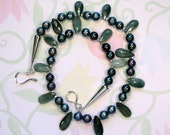 Bolivian Ravens Wing Pearls and Chatoyant Quartz Necklace, Black Pearl Necklace, Uniqure Black Pearls, Womans Pearl Necklace, Black Raven