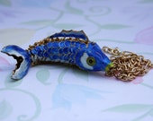 Blue Marlin Cloisonné Necklace, Blue and Gold Necklace, Marlin Necklace, Fish Necklace, Gold Chain, Fun Necklace, Womans Extra long necklace