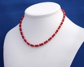 Coral Necklace, Sterling Silver, Red Choker Necklace, Girls Necklace, Holiday Necklace, Red Necklace, Choker Necklace, Understated Necklace