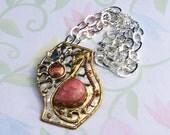 Pink Necklace, Rhodochrosite Necklace, 3 Metal Pendant, Spiritual Pendant, Sun Necklace, Unique Womans Necklace, Statement Necklace, Womans