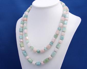 Beryl Necklace, Pastel Colors Necklace, Feminine Necklace, Pink Necklace, Blue Necklace, Green Necklace, Double Strand Gemstone Necklace