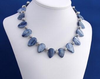 Blue Kyanite Necklace, Bali Silver, Cornflower Blue Kyanite, Feminine Necklace, Blue Necklace, Unique Necklace, Professional Womans Necklace