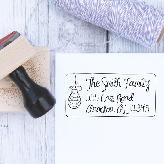Custom Christmas Stamp - Teardrop Christmas Ornament, Holiday Stamp, Handwritten, Wooden Stamp, Rubber Stamp, Self Inking Stamp