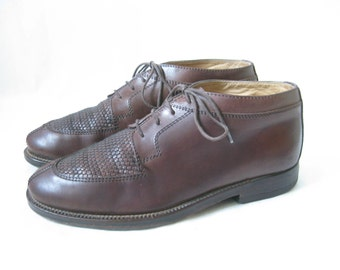 Vintage Italian Brown Woven Leather Lace Up Ankle Boots. Size 9 Women's