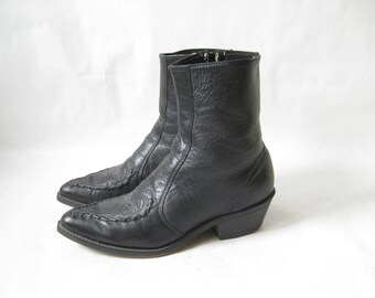 Vintage 70's Laredo Black Leather Zip Mod Western Boots. Size 9  Mens