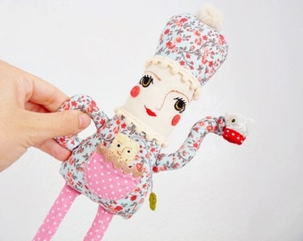 Teapot Rag Doll Pink Blue Plush - Featured in Stuffed Magazine