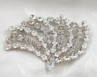 Vintage Garne Jewelry Brooch Rhinestone Crystal Fan Shaped Rhodium Plated Restored