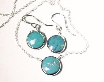 Genuine Turquoise 2-piece SET Adjustable Turquoise Necklace Turquoise Earring Turquoise Jewelry December Birthstone BZ-SET-105.2-Turq/s