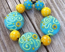Lampwork Bead Set - glow-in-the-dark blue, yellow, lime green - Summer Swirling - SRA AutEvDesigns, ISGB