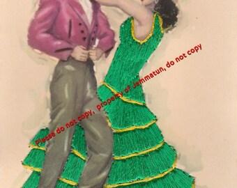 Vintage Silk Embroidered Tarantas Postcard, JDP Valencia