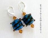 Deep Aqua Dangle Earrings Handmade Lampwork Beads  Artisan Jewelry Topaz Swarovski Crystals BOHO Earrings Sterling Silver Findings