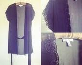 Vintage Oscar de la Renta  Robe/Wrap/Chiffon/Sheer/ Tie waist/sz S/Black Floral/1980s/