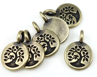 Antique Brass Charms Brass Tree of Life Charms TierraCast TREE Charm You Collection Mini Pendant Bronze Charms Yoga Charms Mindfulness P1325