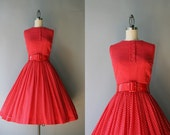 1950s Anne Fogarty Dress / Vintage 50s 60s Red Polka Dot Dress / 50s Tomato Red Sheer Dotted Dress