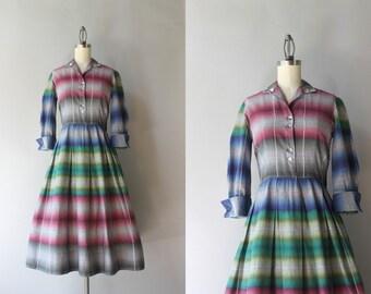 1950s Dress / Vintage 50s Shadow Plaid Dress / Fifties Pleated Plaid Cotton Day Dress