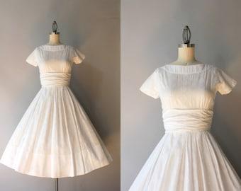 50s Dress / Vintage 50s White Cotton Dress / Fifties Full Skirt Howard Wolf Cotton Dress