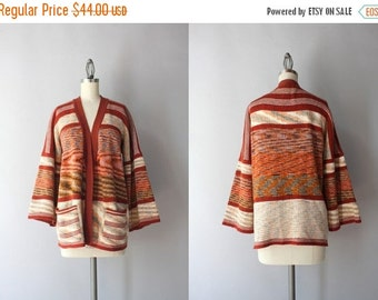 STOREWIDE SALE 1970s Cardigan Sweater / Vintage 70s Space Dyed Cardigan with Pockets / Earth Tones Moire Stripe Sweater