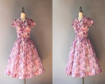 1950s Dress / Vintage 50s Lavender Garden Party Dress / 50s Sheer Faux Wrap Floral Dress