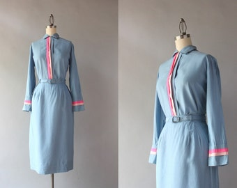 1950s Silk Dress Set / Vintage 50s 60s Pink and Blue Silk Blouse and Pencil Skirt / 1960s Fitted Dress Set