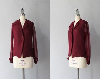 1960s Sheer Silk Blouse / Vintage 60s French Burgundy Silk Button Down Blouse / Rhinestone Button Merlot Blouse