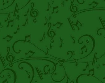 Musical Notes Green Christmas Quilting Treasures Fabric 1 yard