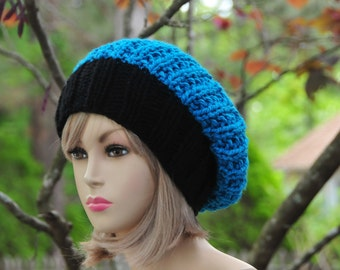 Knit Slouchy Hat, Carolina Panthers Hat, Slouchy Beanie, Slouch Hat, Oversized Beanie, Hand Knit Womens Hat, Winter Hat - Chunky Reversible