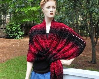 Knit Keyhole Shawl Scarf, Black and Red Shawl, Pull Through Shawl, Self Fastening Shawl, Women Shawl Wrap, Original Design Shawl, Wool Blend