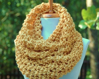 Gold Knit Infinity Scarf, Chunky Scarf, Circle Scarf, Women's Winter Scarf, Oversized Scarf, Knitted Scarf, Vegan Lace Knit Scarf