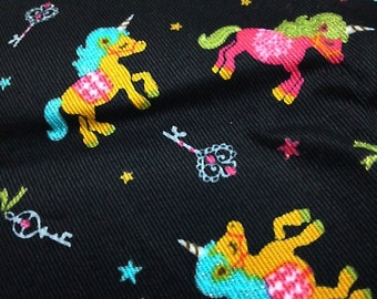 Japanese Cotton Fabric Kokka Unicorn Keys Crown Glitter Black