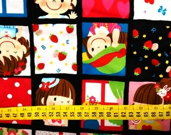 Half Yard Japanese Mama Cotton Fabric Kokka Smiley Girls Squares