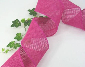 """5 Yards Hot Pink Fuchsia Burlap 2.5"""" Wire Edge Ribbon Crafts Wreaths Bows Wired"""