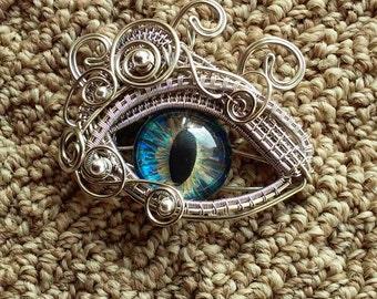 Gothic Steampunk Sea Blue Eye Pendant