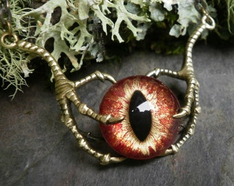 Gothic Steampunk Raven Claw With Hot Flame Eye