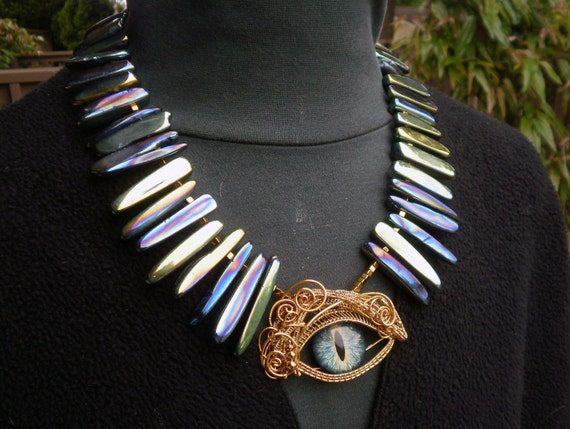 Gothic Steampunk Titanium Blue Green Stones with Matching Eye Necklace
