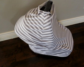 Grey and White Stripe Car Seat Canopy, Nursing Cover, Shopping Car Cover & Scarf
