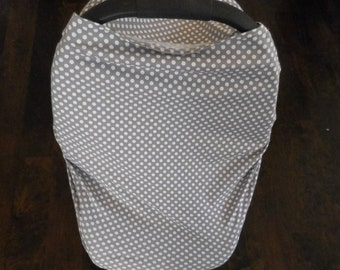 Grey with White Polka Dots Car Seat Canopy, Nursing Cover, Shopping Car Cover & Scarf