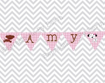 DIY Printable Girly puppy Personalized Bunting Name Banner  DIGITAL PDF Banner