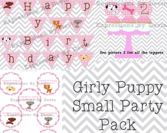 DIY Printable Girly puppy Theme Small Party Pack