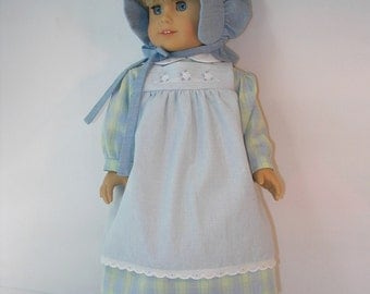 1854-1067, 18 Inch Doll Clothes School Dress Pinafore for Kirsten
