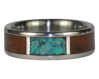 Green Opal Window Ring with Dark Koa Wood
