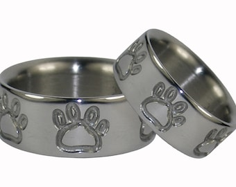 Titanium Ring Set with Puppy Paw or Bear Claw Engravings