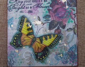 Butterfly Inspirational Mixed Media Encaustic Painting